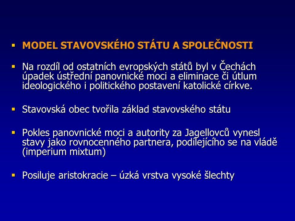  MODEL STAVOVSKÉHO STÁTU A SPOLEČNOSTI  Na rozdíl od ostatních evropských států byl v Čechách úpadek ústřední panovnické moci a eliminace či útlum i
