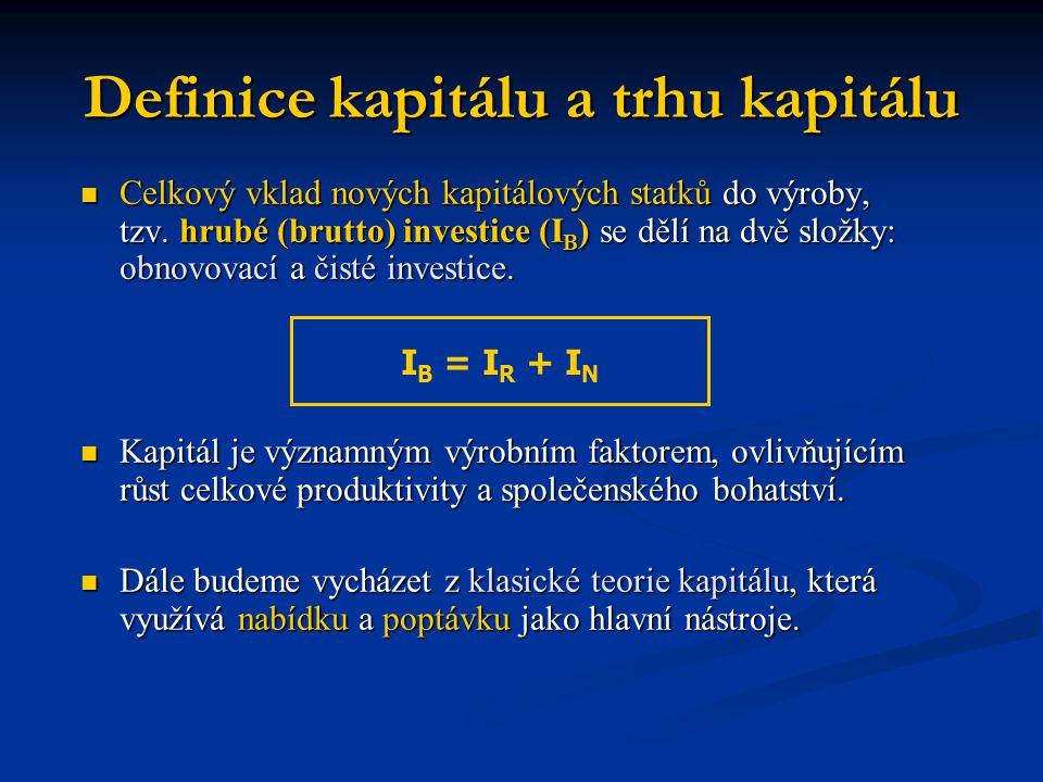 Definice kapitálu a trhu kapitálu  Celkový vklad nových kapitálových statků do výroby, tzv. hrubé (brutto) investice (I B ) se dělí na dvě složky: ob
