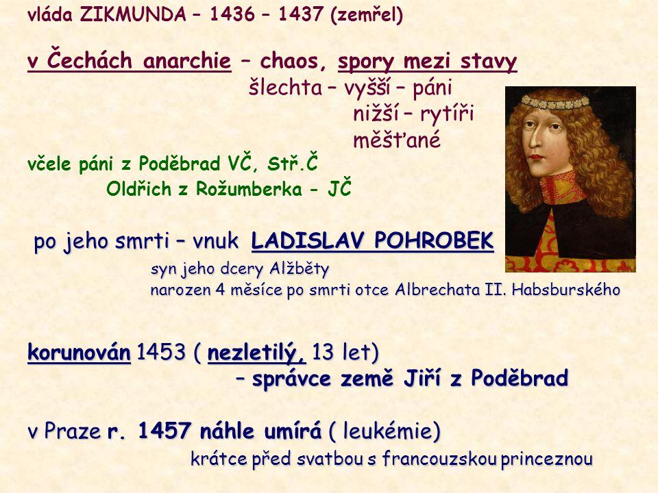 vláda ZIKMUNDA – 1436 – 1437 (zemřel) v Čechách anarchie – chaos, spory mezi stavy šlechta – vyšší – páni nižší – rytíři měšťané včele páni z Poděbrad