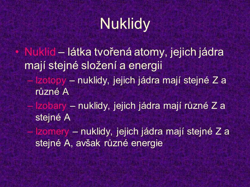 Nuklidy •Nuklid – látka tvořená atomy, jejich jádra mají stejné složení a energii –Izotopy – nuklidy, jejich jádra mají stejné Z a různé A –Izobary –