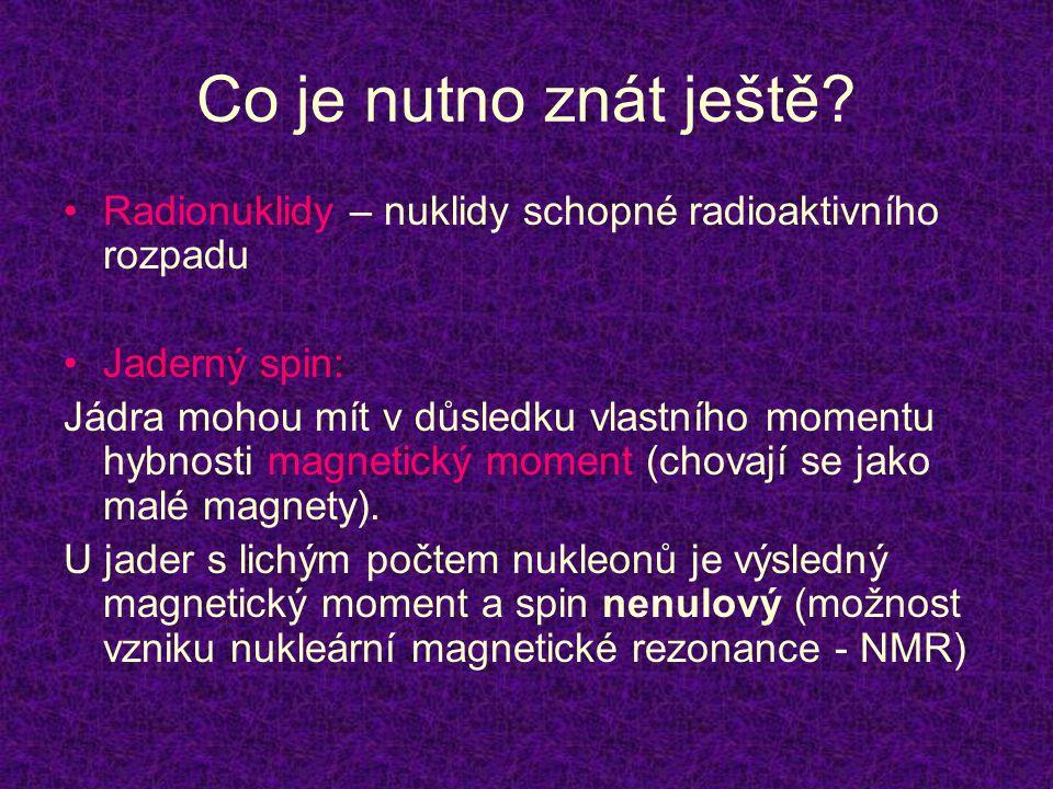 Co je nutno znát ještě? •Radionuklidy – nuklidy schopné radioaktivního rozpadu •Jaderný spin: Jádra mohou mít v důsledku vlastního momentu hybnosti ma