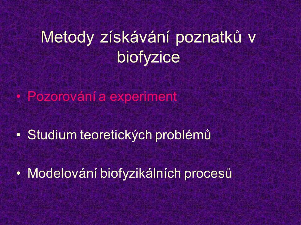 Metody získávání poznatků v biofyzice •Pozorování a experiment •Studium teoretických problémů •Modelování biofyzikálních procesů