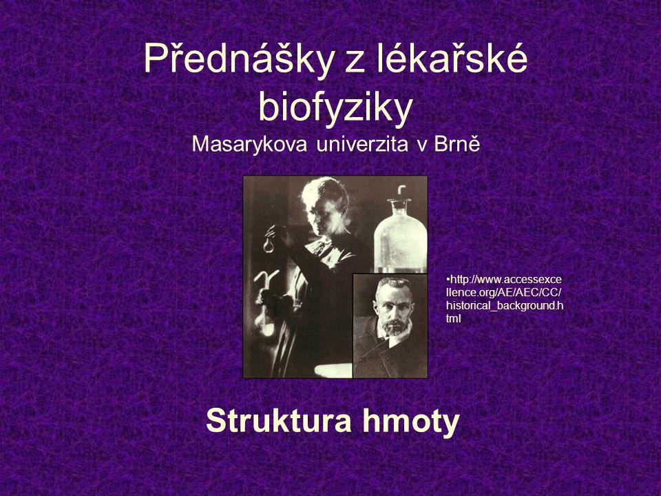 Přednášky z lékařské biofyziky Masarykova univerzita v Brně Struktura hmoty •http://www.accessexce llence.org/AE/AEC/CC/ historical_background.h tml