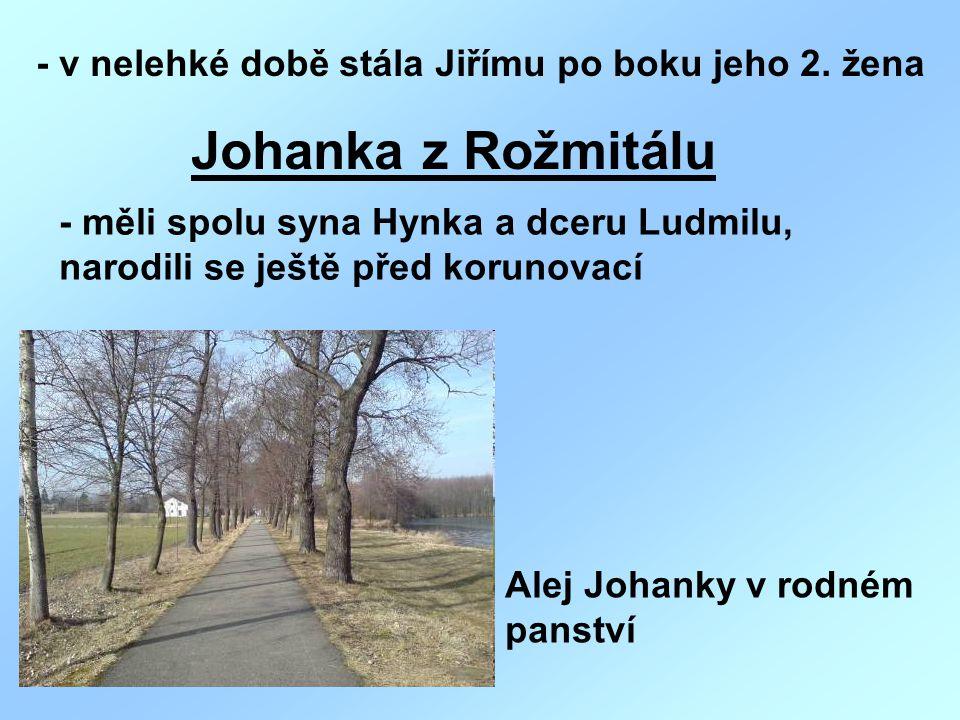 - v nelehké době stála Jiřímu po boku jeho 2. žena Johanka z Rožmitálu - měli spolu syna Hynka a dceru Ludmilu, narodili se ještě před korunovací Alej