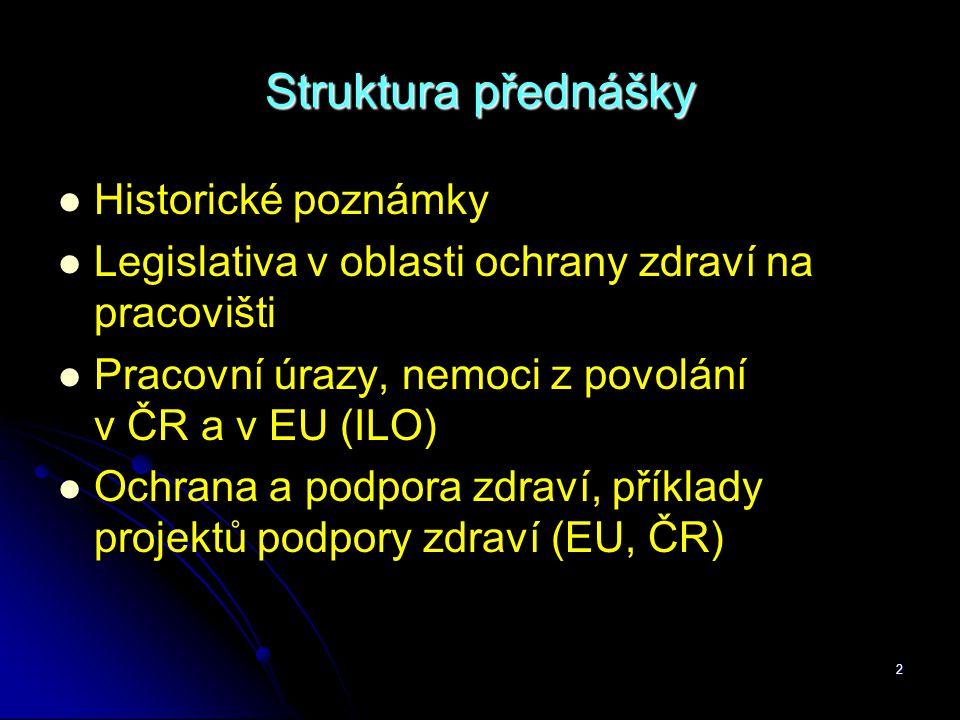 2 Struktura přednášky   Historické poznámky   Legislativa v oblasti ochrany zdraví na pracovišti   Pracovní úrazy, nemoci z povolání v ČR a v EU