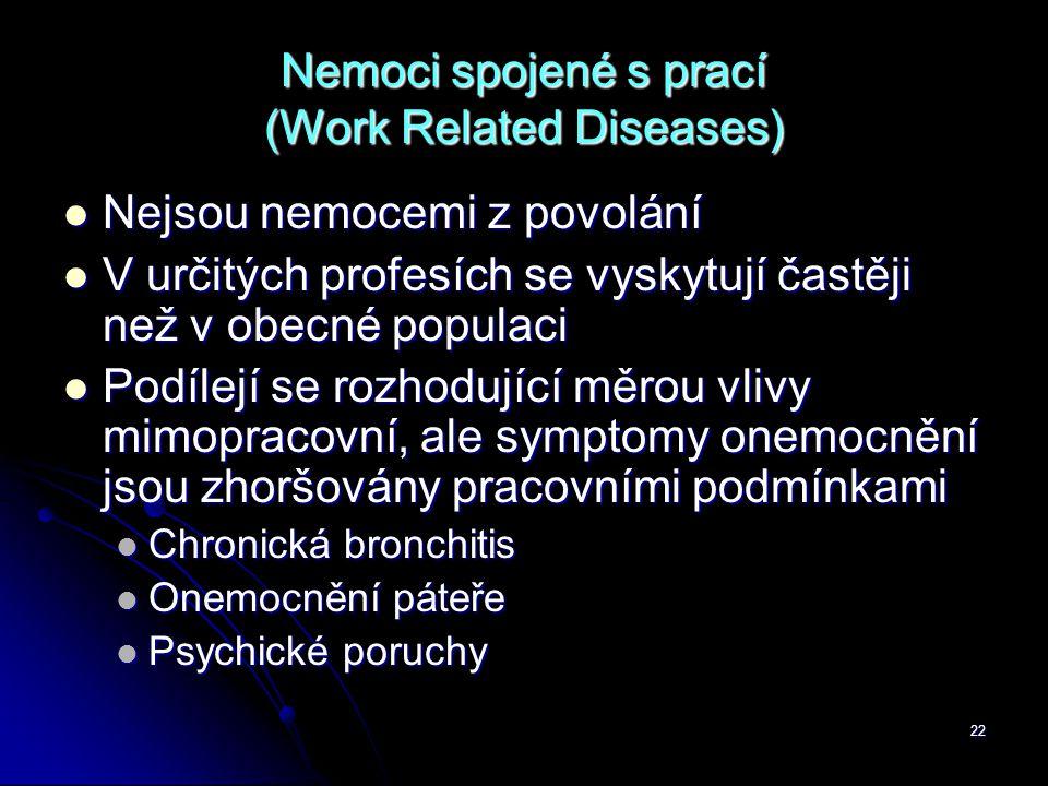 22 Nemoci spojené s prací (Work Related Diseases)  Nejsou nemocemi z povolání  V určitých profesích se vyskytují častěji než v obecné populaci  Pod