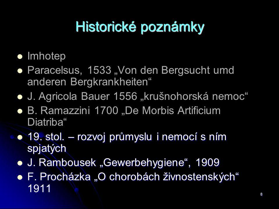 "8 Historické poznámky   Imhotep   Paracelsus, 1533 ""Von den Bergsucht umd anderen Bergkrankheiten""   J. Agricola Bauer 1556 ""krušnohorská nemoc"""