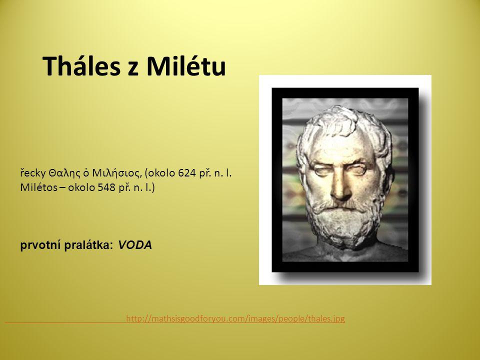 Tháles z Milétu http://mathsisgoodforyou.com/images/people/thales.jpg řecky Θαλης ὁ Μιλήσιος, (okolo 624 př.