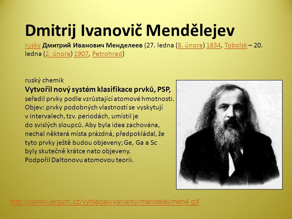 Dmitrij Ivanovič Mendělejev rusky Дмитрий Иванович Менделеев (27.