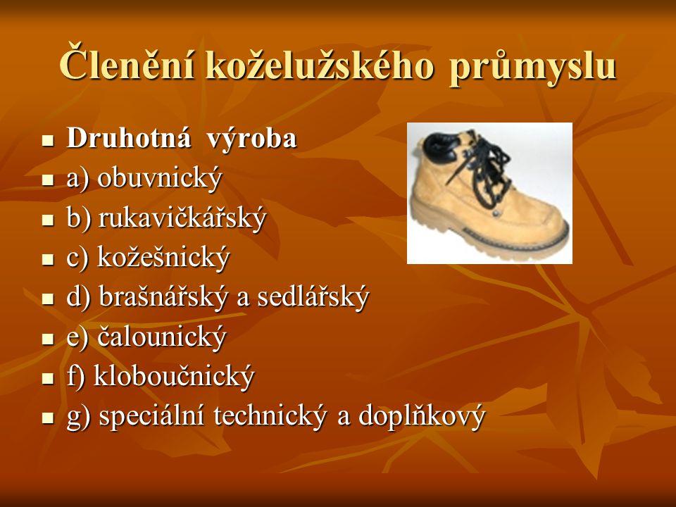Členění koželužského průmyslu  Druhotná výroba  a) obuvnický  b) rukavičkářský  c) kožešnický  d) brašnářský a sedlářský  e) čalounický  f) klo