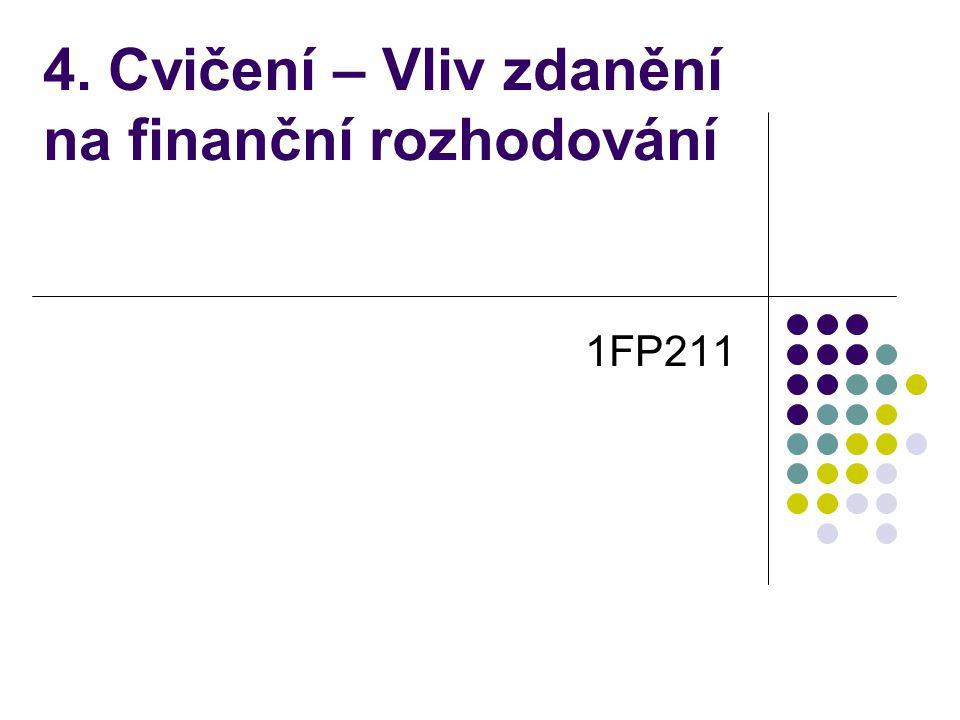 4. Cvičení – Vliv zdanění na finanční rozhodování 1FP211