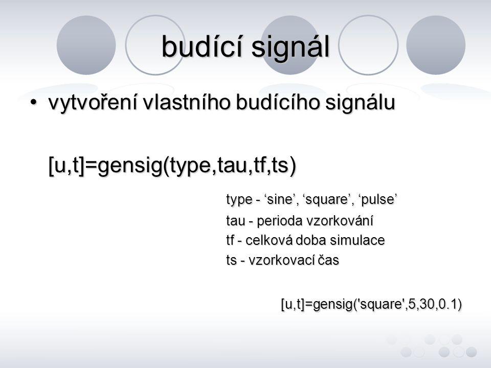 budící signál •vytvoření vlastního budícího signálu [u,t]=gensig(type,tau,tf,ts) type - 'sine', 'square', 'pulse' tau - perioda vzorkování tf - celková doba simulace ts - vzorkovací čas [u,t]=gensig( square ,5,30,0.1)