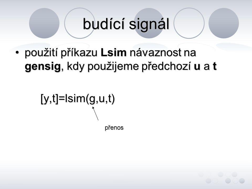 budící signál •použití příkazu Lsim návaznost na gensig, kdy použijeme předchozí u a t [y,t]=lsim(g,u,t) přenos