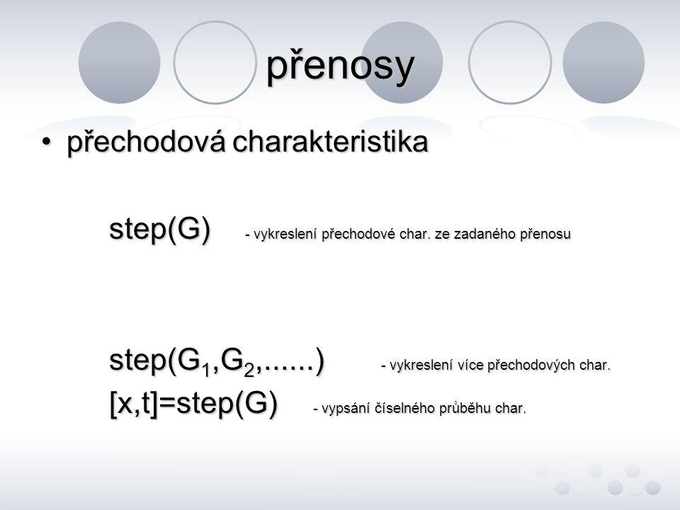 přenosy •přechodová charakteristika step(G) - vykreslení přechodové char.