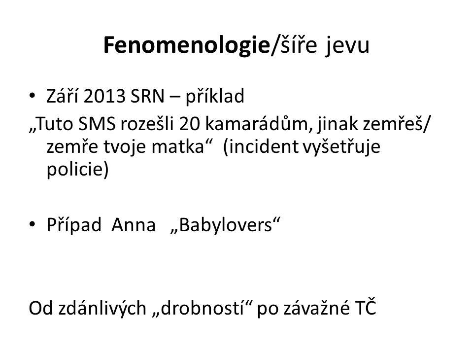"""Fenomenologie/šíře jevu • Září 2013 SRN – příklad """"Tuto SMS rozešli 20 kamarádům, jinak zemřeš/ zemře tvoje matka"""" (incident vyšetřuje policie) • Příp"""