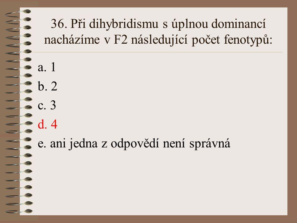 35. Při úplné dominanci A nad a je heterozygot Aa fenotypově: a. shodný s AA b. shodný s aa c. mezi AA a aa d.odlišný od obou rodičů (AA,aa) e. ani je