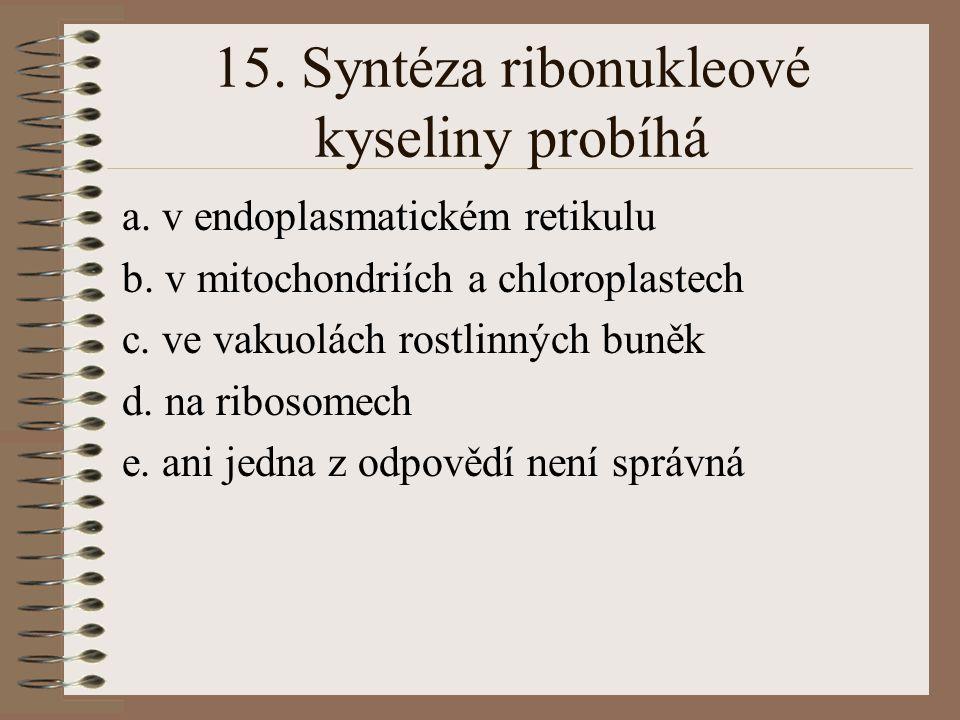 14. DNA polymeráza je enzym, který je: a. lokalizován především v jadérku eukaryontní buňky b. vázán na jaderné ribosomy c. lokalizován v cytoplasmě e