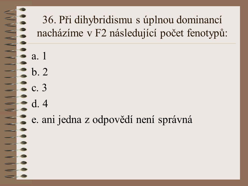 35. Při úplné dominanci A nad a je heterozygot Aa fenotypově: a. shodný s AA b. shodný s aa c. mezi AA a aa d. odlišný od obou rodičů (AA,aa) e. ani j