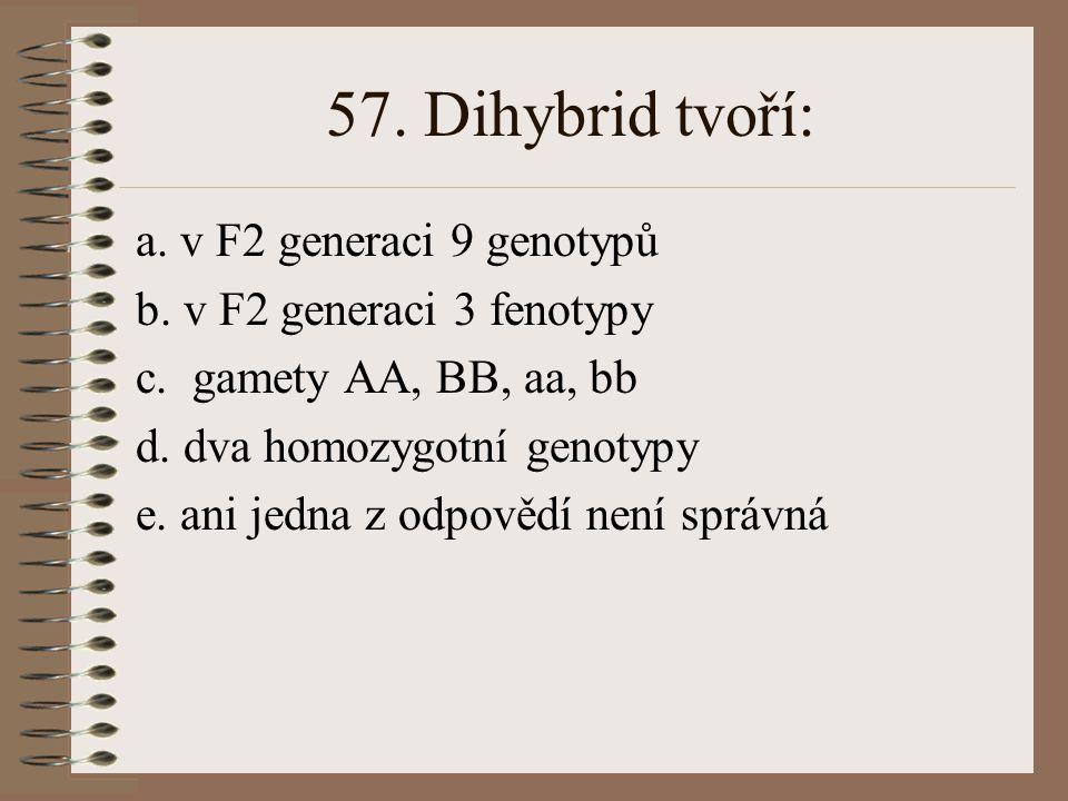 56. Gen pro určitý polypeptid obsahuje 450 nukleotidových párů. Vypočtěte, kolik aminokyselin tento polypeptid obsahuje a. 150 b. 200 c. 120 d. 1350 e
