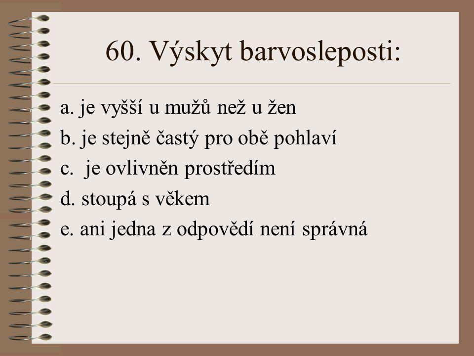59.Hemofilie (dědičná krvácivost) se vyskytuje: a.