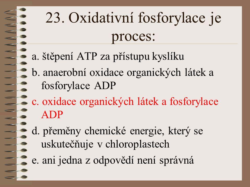 22. Enzymy dýchacího řetězce: a. jsou uloženy volně v cytoplasmě b. jsou vázány na mitochondrie c. jsou uloženy v cisternách Golgiho aparátu d. jsou v