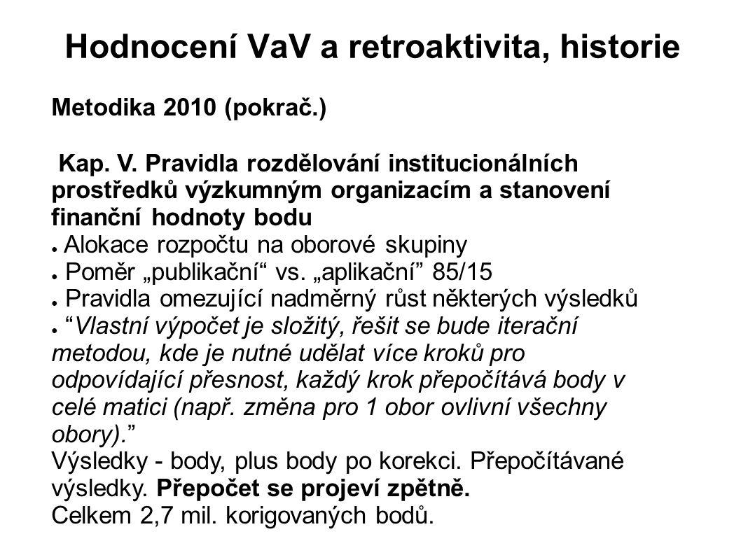 Hodnocení VaV a retroaktivita, historie Metodika 2010 (pokrač.) Kap. V. Pravidla rozdělování institucionálních prostředků výzkumným organizacím a stan