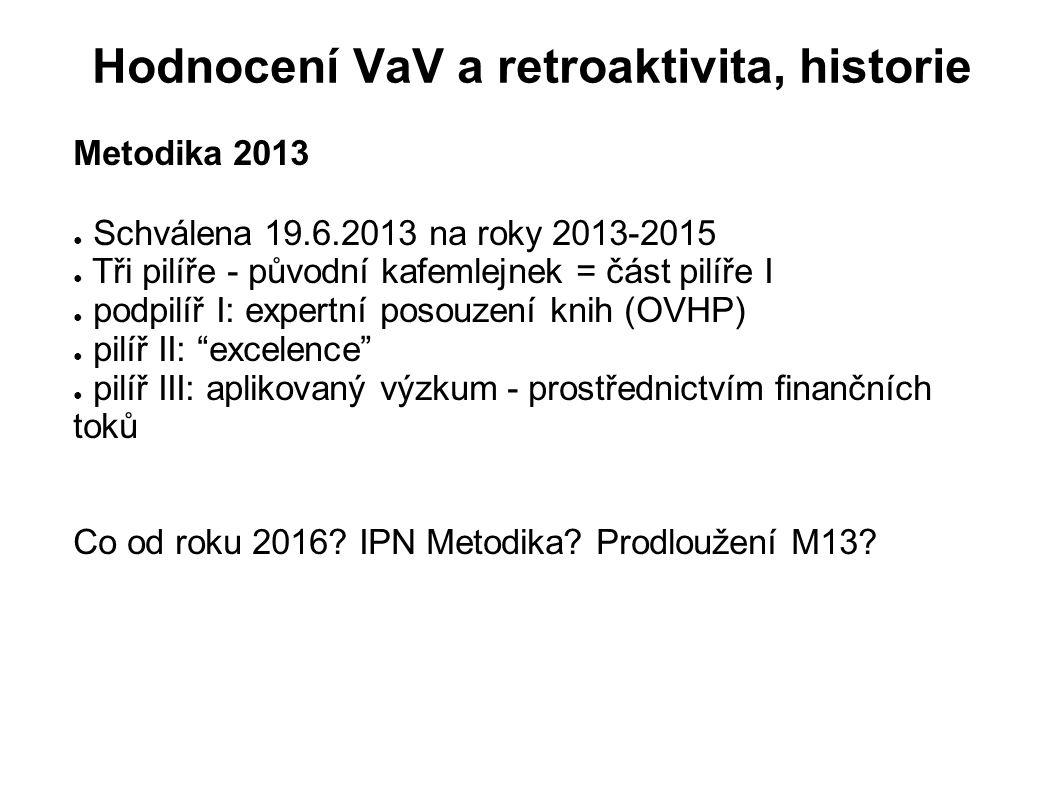 Hodnocení VaV a retroaktivita, historie Metodika 2013 ● Schválena 19.6.2013 na roky 2013-2015 ● Tři pilíře - původní kafemlejnek = část pilíře I ● pod