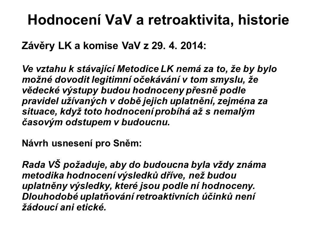 Hodnocení VaV a retroaktivita, historie Závěry LK a komise VaV z 29. 4. 2014: Ve vztahu k stávající Metodice LK nemá za to, že by bylo možné dovodit l