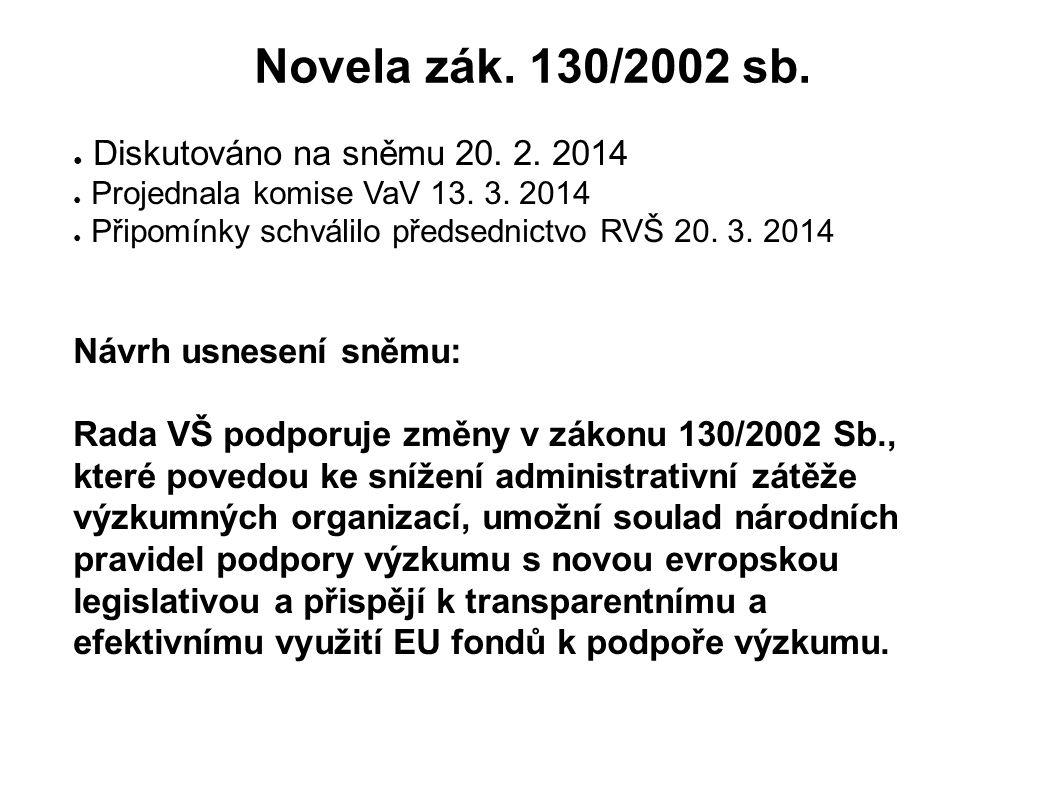 Novela zák. 130/2002 sb. ● Diskutováno na sněmu 20. 2. 2014 ● Projednala komise VaV 13. 3. 2014 ● Připomínky schválilo předsednictvo RVŠ 20. 3. 2014 N
