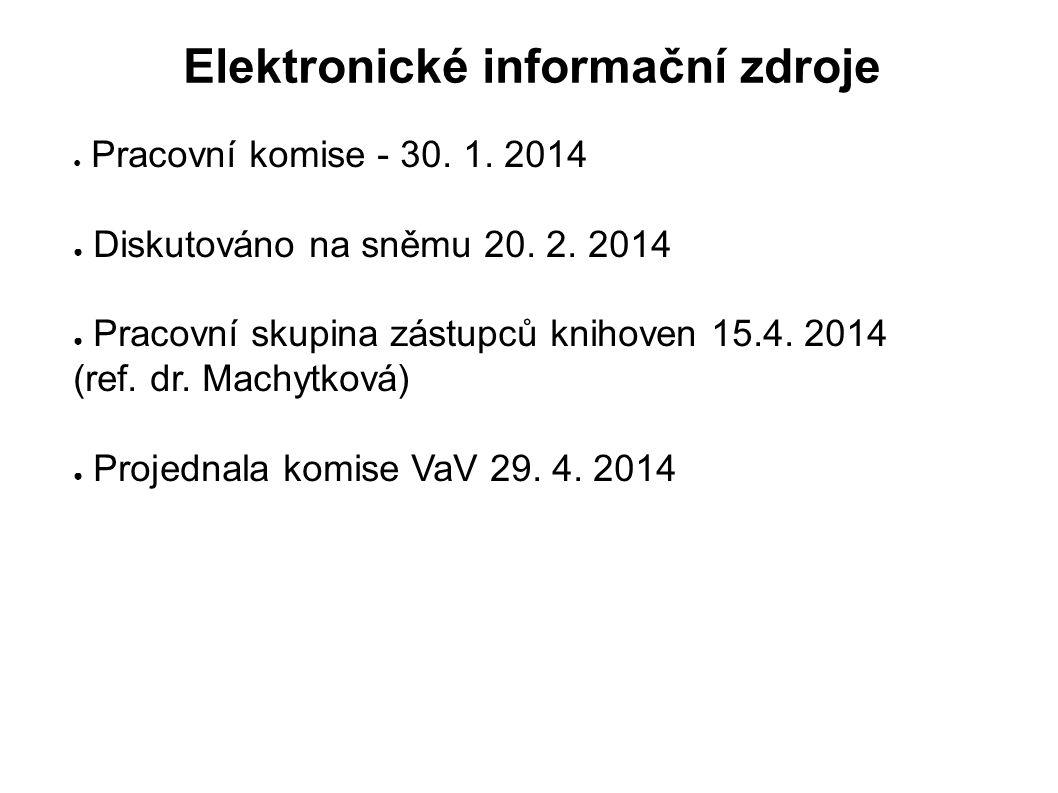 Elektronické informační zdroje ● Pracovní komise - 30. 1. 2014 ● Diskutováno na sněmu 20. 2. 2014 ● Pracovní skupina zástupců knihoven 15.4. 2014 (ref