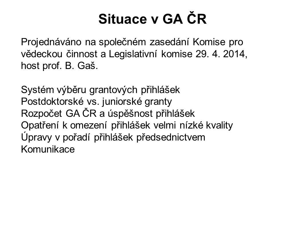 Situace v GA ČR Projednáváno na společném zasedání Komise pro vědeckou činnost a Legislativní komise 29. 4. 2014, host prof. B. Gaš. Systém výběru gra