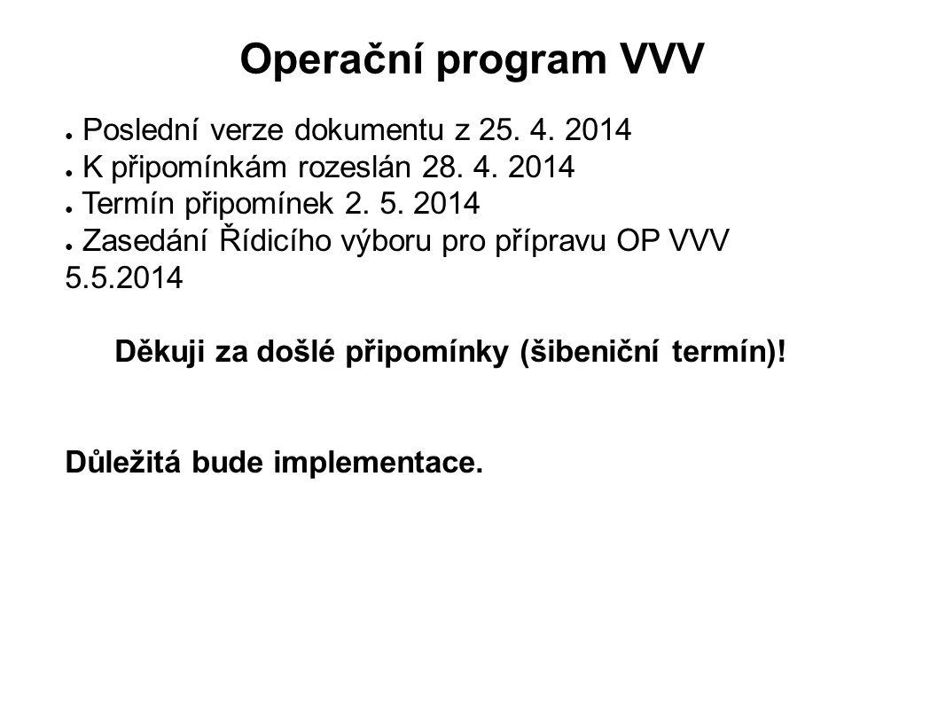 Operační program VVV ● Poslední verze dokumentu z 25. 4. 2014 ● K připomínkám rozeslán 28. 4. 2014 ● Termín připomínek 2. 5. 2014 ● Zasedání Řídicího