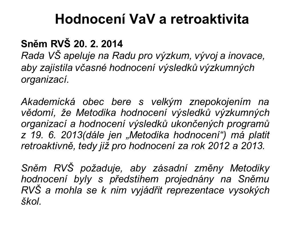 Hodnocení VaV a retroaktivita Sněm RVŠ 20. 2. 2014 Rada VŠ apeluje na Radu pro výzkum, vývoj a inovace, aby zajistila včasné hodnocení výsledků výzkum
