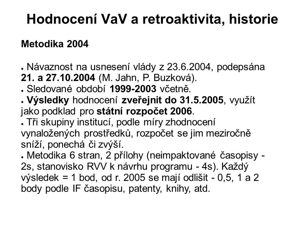 Hodnocení VaV a retroaktivita, historie Metodika 2004 ● Návaznost na usnesení vlády z 23.6.2004, podepsána 21. a 27.10.2004 (M. Jahn, P. Buzková). ● S