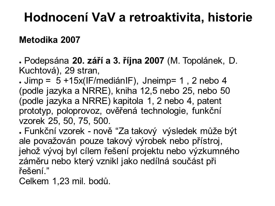 Hodnocení VaV a retroaktivita, historie Metodika 2007 ● Podepsána 20. září a 3. října 2007 (M. Topolánek, D. Kuchtová), 29 stran, ● Jimp = 5 +15x(IF/m