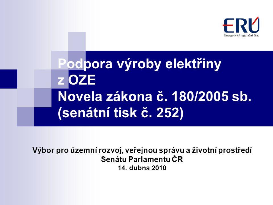 Podpora výroby elektřiny z OZE Novela zákona č. 180/2005 sb. (senátní tisk č. 252) Výbor pro územní rozvoj, veřejnou správu a životní prostředí Senátu