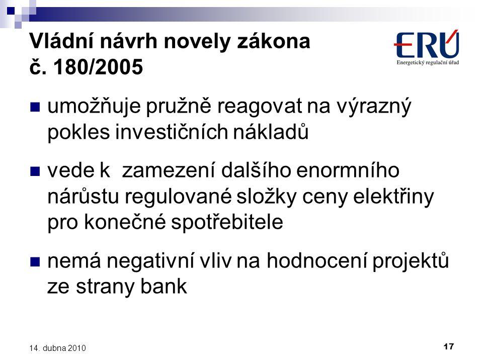 17 14. dubna 2010 Vládní návrh novely zákona č. 180/2005  umožňuje pružně reagovat na výrazný pokles investičních nákladů  vede k zamezení dalšího e