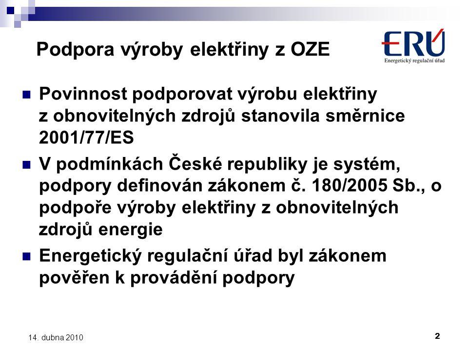 2 Podpora výroby elektřiny z OZE  Povinnost podporovat výrobu elektřiny z obnovitelných zdrojů stanovila směrnice 2001/77/ES  V podmínkách České republiky je systém, podpory definován zákonem č.