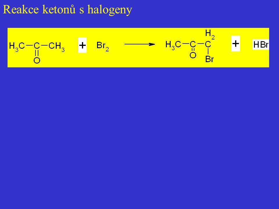 Reakce ketonů s halogeny