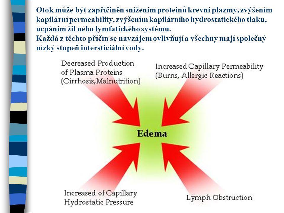 Otok může být zapříčiněn snížením proteinů krevní plazmy, zvýšením kapilární permeability, zvýšením kapilárního hydrostatického tlaku, ucpáním žil neb