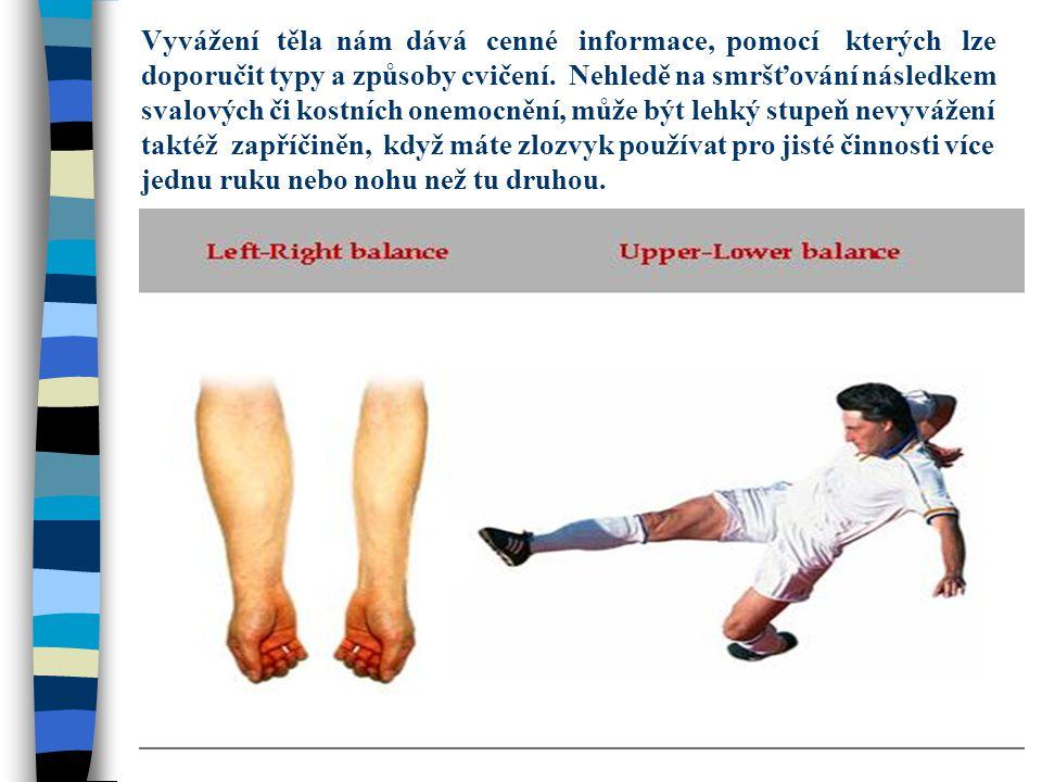 Vyvážení těla nám dává cenné informace, pomocí kterých lze doporučit typy a způsoby cvičení. Nehledě na smršťování následkem svalových či kostních one