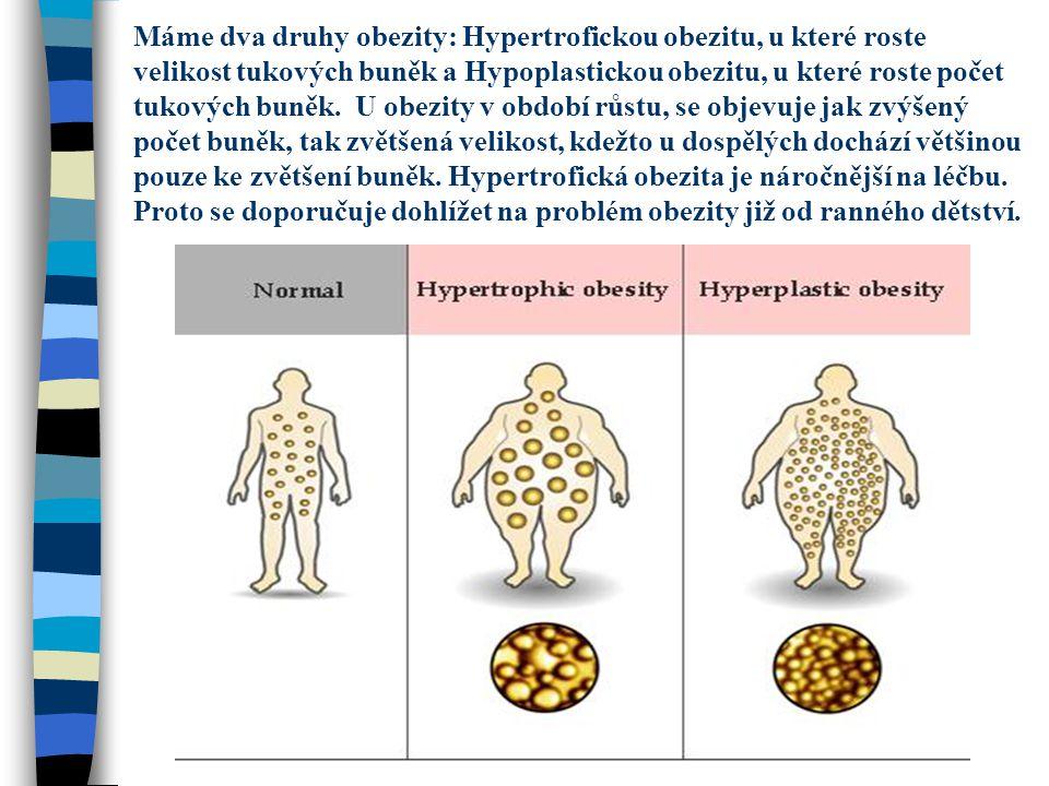 Máme dva druhy obezity: Hypertrofickou obezitu, u které roste velikost tukových buněk a Hypoplastickou obezitu, u které roste počet tukových buněk. U