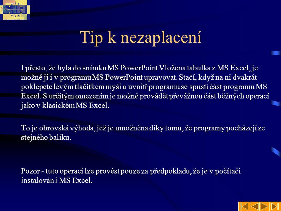 Tip k nezaplacení I přesto, že byla do snímku MS PowerPoint Vložena tabulka z MS Excel, je možné ji i v programu MS PowerPoint upravovat.