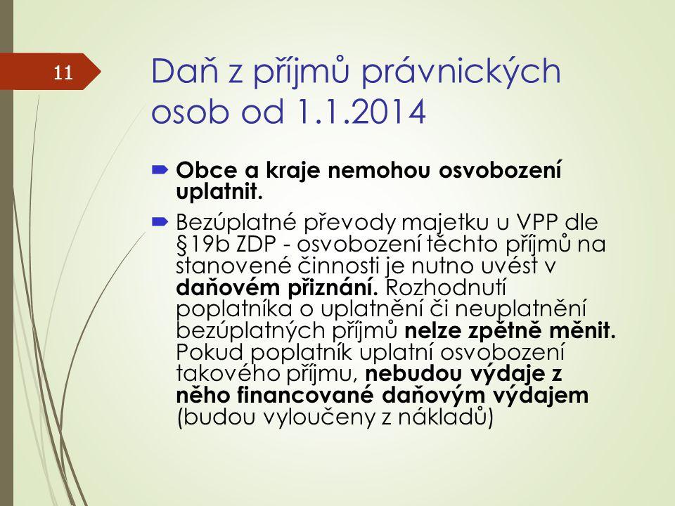 Daň z příjmů právnických osob od 1.1.2014  Obce a kraje nemohou osvobození uplatnit.  Bezúplatné převody majetku u VPP dle §19b ZDP - osvobození těc