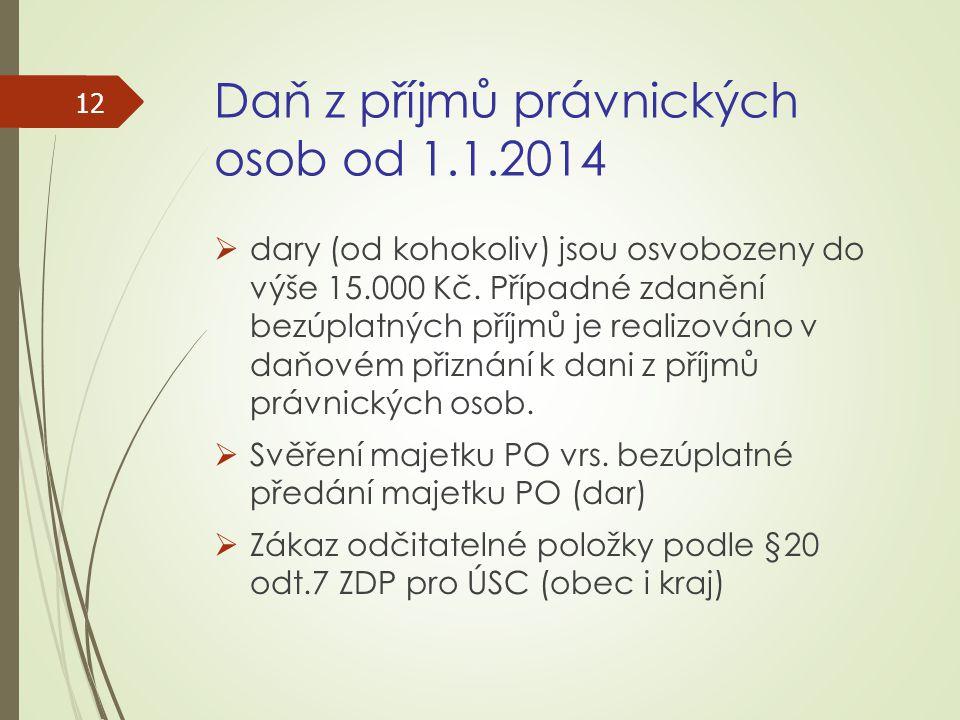 Daň z příjmů právnických osob od 1.1.2014  dary (od kohokoliv) jsou osvobozeny do výše 15.000 Kč. Případné zdanění bezúplatných příjmů je realizováno