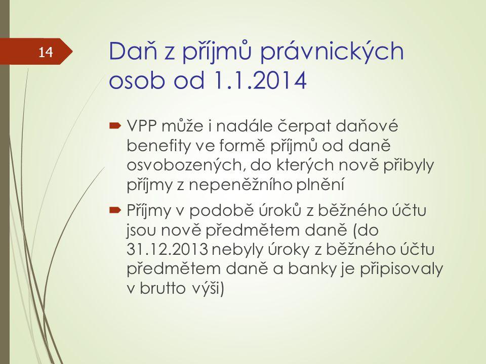 Daň z příjmů právnických osob od 1.1.2014  VPP může i nadále čerpat daňové benefity ve formě příjmů od daně osvobozených, do kterých nově přibyly pří