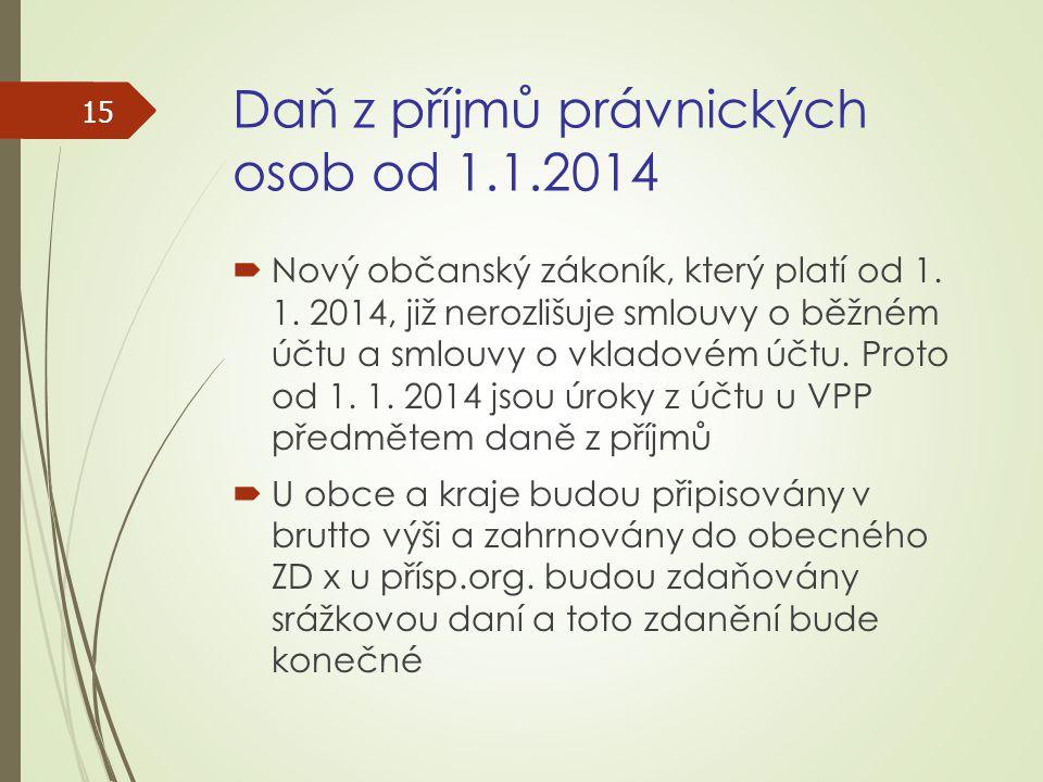 Daň z příjmů právnických osob od 1.1.2014  Nový občanský zákoník, který platí od 1. 1. 2014, již nerozlišuje smlouvy o běžném účtu a smlouvy o vklado