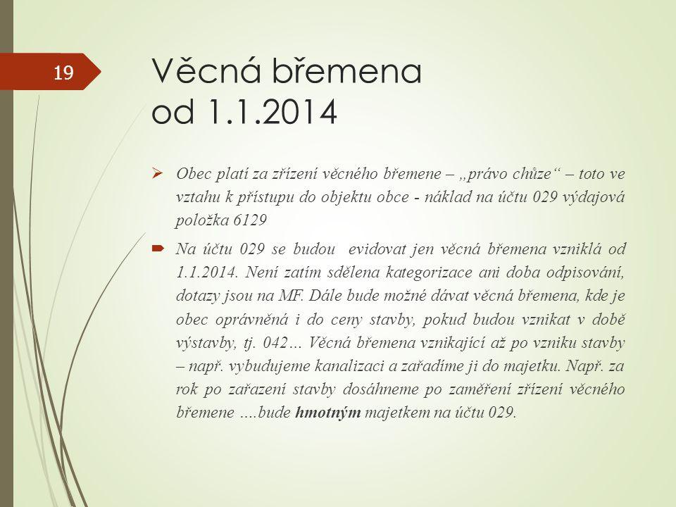 """Věcná břemena od 1.1.2014  Obec platí za zřízení věcného břemene – """"právo chůze"""" – toto ve vztahu k přístupu do objektu obce - náklad na účtu 029 výd"""