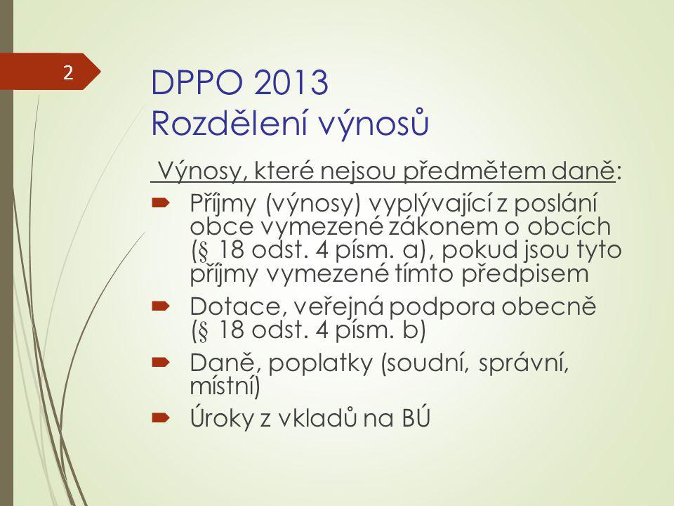 DPPO 2013 Rozdělení výnosů Výnosy, které nejsou předmětem daně:  Příjmy (výnosy) vyplývající z poslání obce vymezené zákonem o obcích (§ 18 odst. 4 p