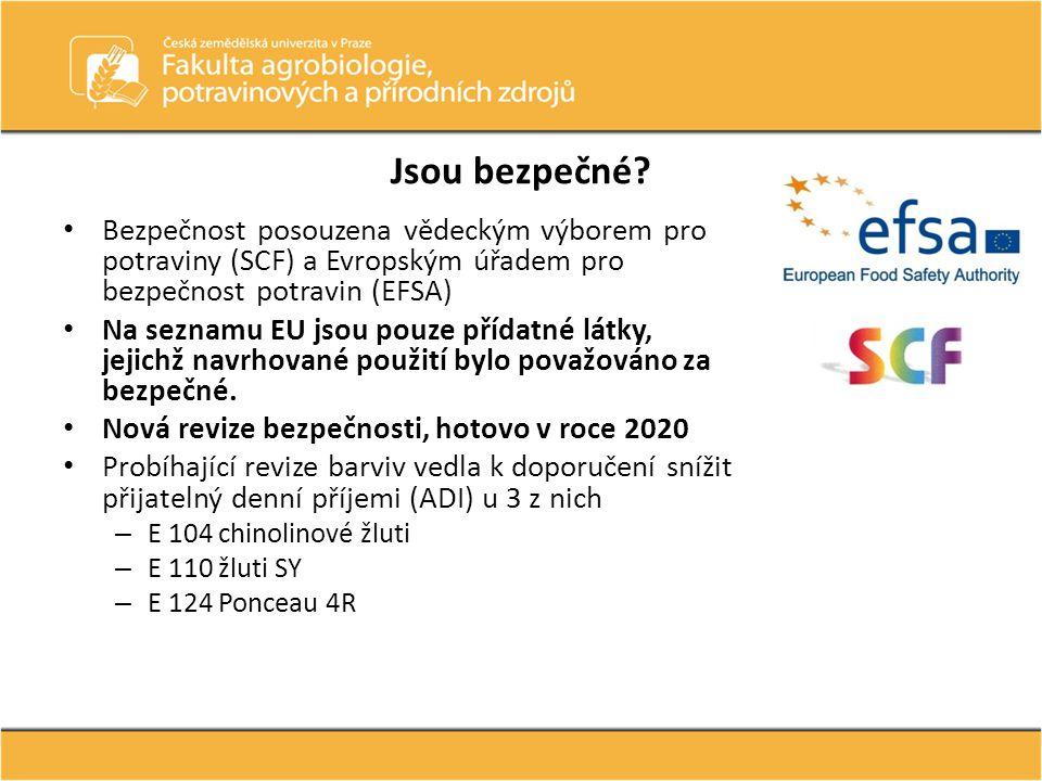 Jsou bezpečné? • Bezpečnost posouzena vědeckým výborem pro potraviny (SCF) a Evropským úřadem pro bezpečnost potravin (EFSA) • Na seznamu EU jsou pouz